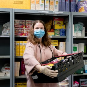 Student Volunteer at Foodbank with Mask