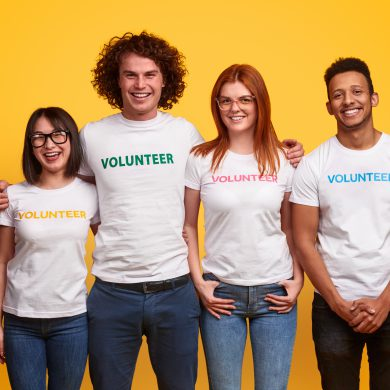 Group of diverse college student volunteers
